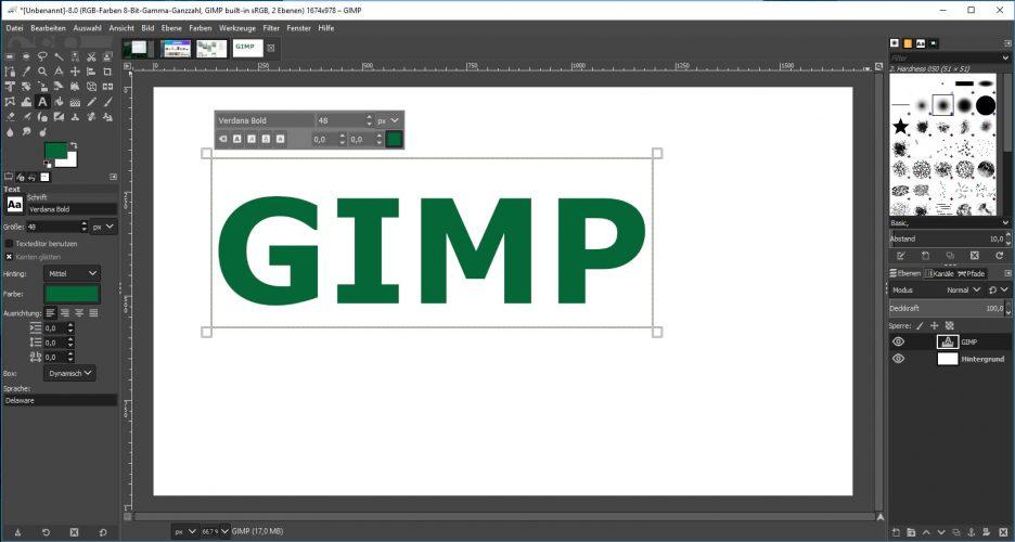Screenshot des Bildbearbeitungsprogramms GIMP