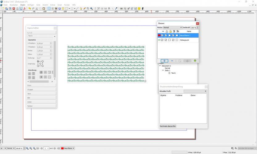 Screenshot des DTP-Programm Scribus
