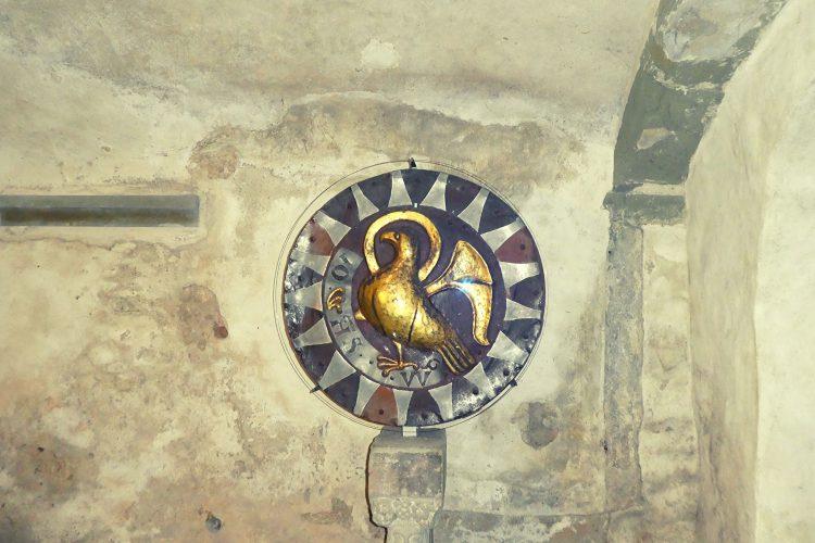 Goldscheibe in der Krypta des Münsters